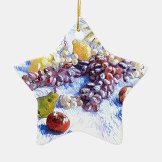 La vie toujours avec des pommes, poires, raisins - ornement étoile en céramique