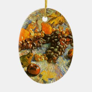 La vie toujours avec des pommes, poires, raisins - ornement ovale en céramique