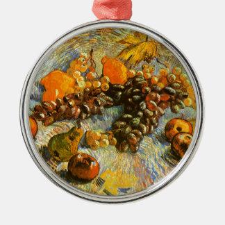 La vie toujours avec des pommes, poires, raisins - ornement rond argenté