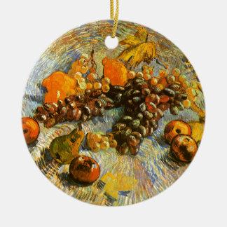 La vie toujours avec des pommes, poires, raisins - ornement rond en céramique