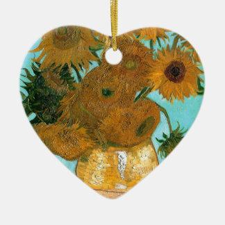 La vie toujours : Tournesols - Vincent van Gogh Ornement Cœur En Céramique