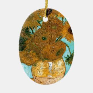 La vie toujours : Tournesols - Vincent van Gogh Ornement Ovale En Céramique