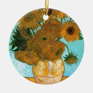 La vie toujours : Tournesols - Vincent van Gogh Ornement Rond En Céramique