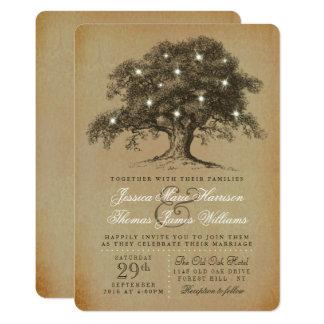 La vieille collection vintage de mariage de chêne carton d'invitation  12,7 cm x 17,78 cm