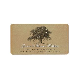 La vieille collection vintage de mariage de chêne étiquette d'adresse
