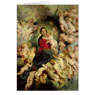 La Vierge et l'enfant entourés Cartes De Vœux