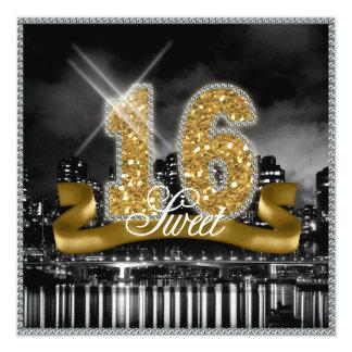 La ville allume l'or ID243 de sweet sixteen Carton D'invitation 13,33 Cm