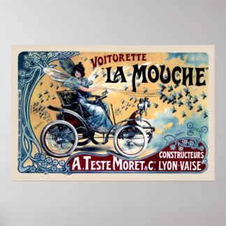La vintage drôle Mouche de Voiturette de copie Poster