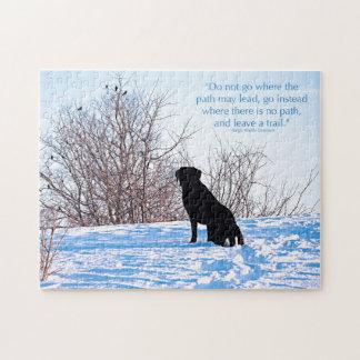 Labrador noir - citation de la vie de chemin puzzle