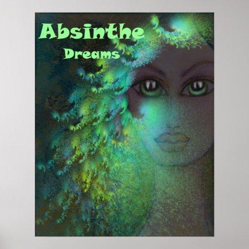 L'absinthe rêve le vert psychédélique d'art de fra affiche