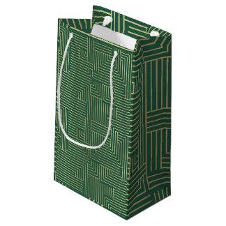 Labyrinthe d'or et sac vert de cadeau