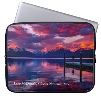 Lac McDonald, ciel de rouge de parc national de Protection Pour Ordinateur Portable