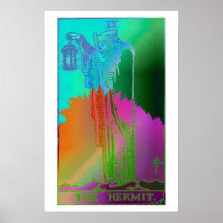 L'affiche psychédélique de carte de tarot d'ermite poster