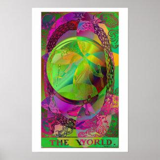 L'affiche psychédélique de carte de tarot du monde poster