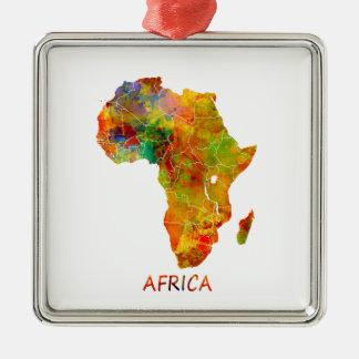 L'Afrique Ornement Carré Argenté