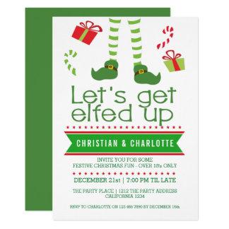 Laisse obtenir Elfed vers le haut de fête de Noël Carton D'invitation 12,7 Cm X 17,78 Cm