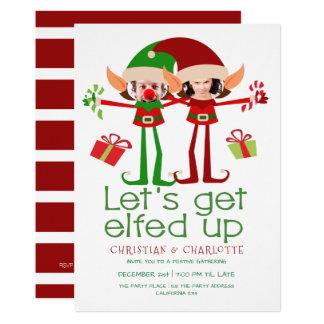 Laisse obtenir Elfed vers le haut de Noël drôle Carton D'invitation 12,7 Cm X 17,78 Cm