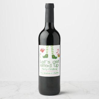 Laisse obtenir Elfed vers le haut de Noël Étiquette Pour Bouteilles De Vin