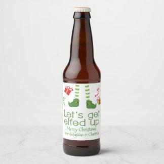 Laisse obtenir Elfed vers le haut d'humour de Noël Étiquette Pour Bouteilles De Bière