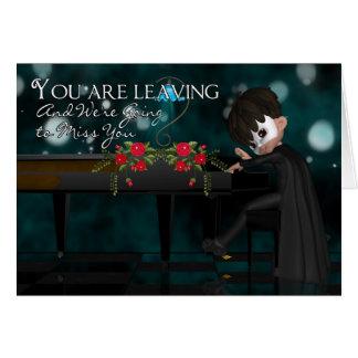 Laisser la carte avec le garçon jouant le piano
