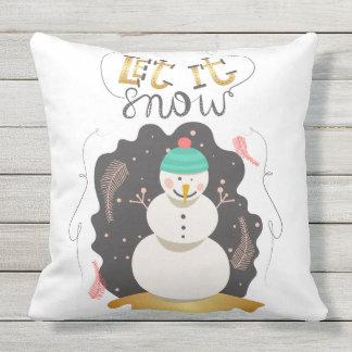 """""""Laissez-le neiger"""" carreau du bonhomme de neige   Coussin Décoratif"""
