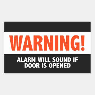L'alarme d'avertissement semblera si la porte est sticker rectangulaire