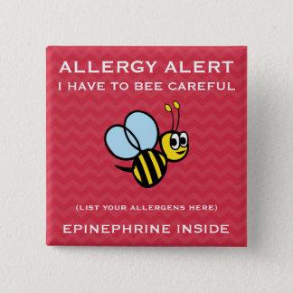 L'alerte multiple d'allergie alimentaire gaffent badge carré 5 cm