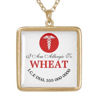 L'allergie | de blé personnalisent collier plaqué or