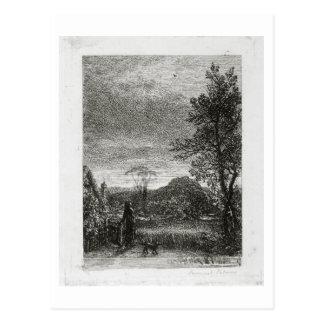 L'alouette (gravure à l'eau-forte) carte postale