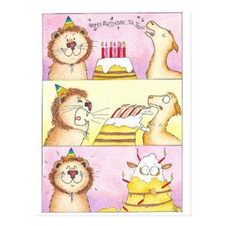 Lama CONTRE la carte postale d'anniversaire de