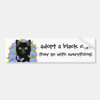 L'amour de chat noir adoptent un chat d'abri ! autocollant de voiture