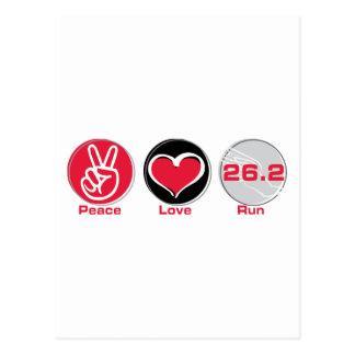 L'amour de paix courent 26,2 milles - marathon carte postale