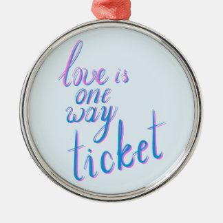 L'amour est un billet de manière ornement rond argenté