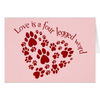 L'amour est un mot quatre à jambes carte de vœux
