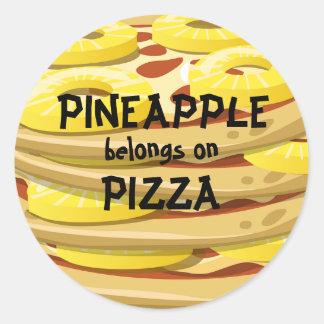 L'ananas appartient sur des autocollants de pizza