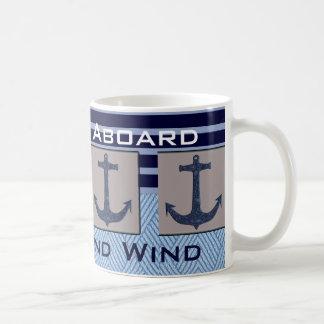 L'ancre et les rayures nautiques du bateau votre mug blanc