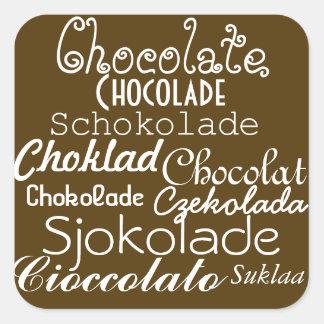 Langues des autocollants de chocolat