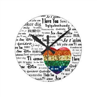Langues étrangères d'amour horloge ronde