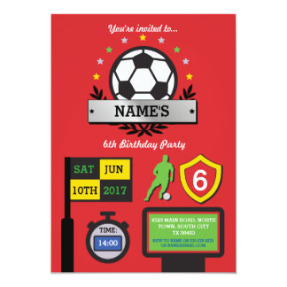 L'anniversaire de partie du football du garçon carton d'invitation  12,7 cm x 17,78 cm