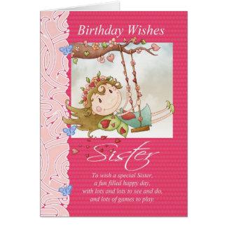 l'anniversaire de soeur souhaite la carte de voeux
