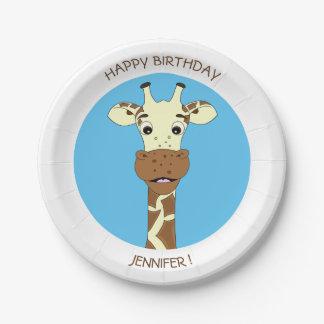 L'anniversaire drôle de bande dessinée de girafe assiettes en papier