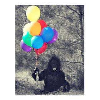l'anniversaire monte en ballon la singe carte postale