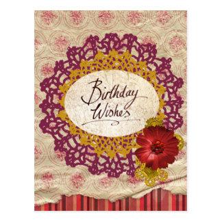 L'anniversaire souhaite la carte postale vintage