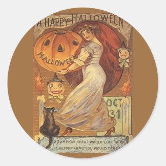 Lanterne d'o vintage de femme et de Jack de Sticker Rond