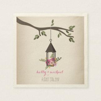 Lanterne florale rose + Serviettes de mariage Serviette Jetable