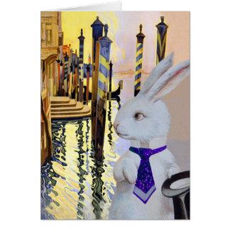 Lapin blanc à Venise, Italie - anthropomorphe Carte De Vœux