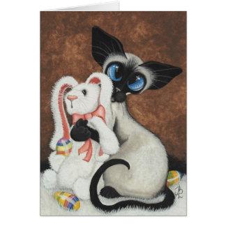 Lapin de Pâques de chat siamois par la carte de