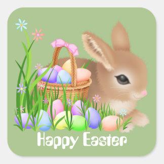 Lapin de Pâques et autocollant de fête de vacances