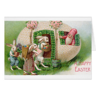 Lapins de Pâques vintages et carte de gnome