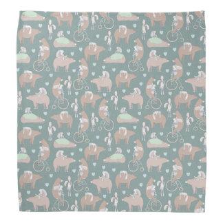 Lapins, ours, et motif de bicyclettes bandana